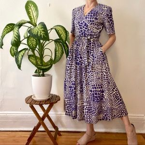 Vintage 80's maxi dress with purple print, MED